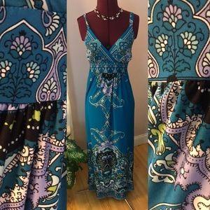 Beautiful turquoise paisley maxi dress